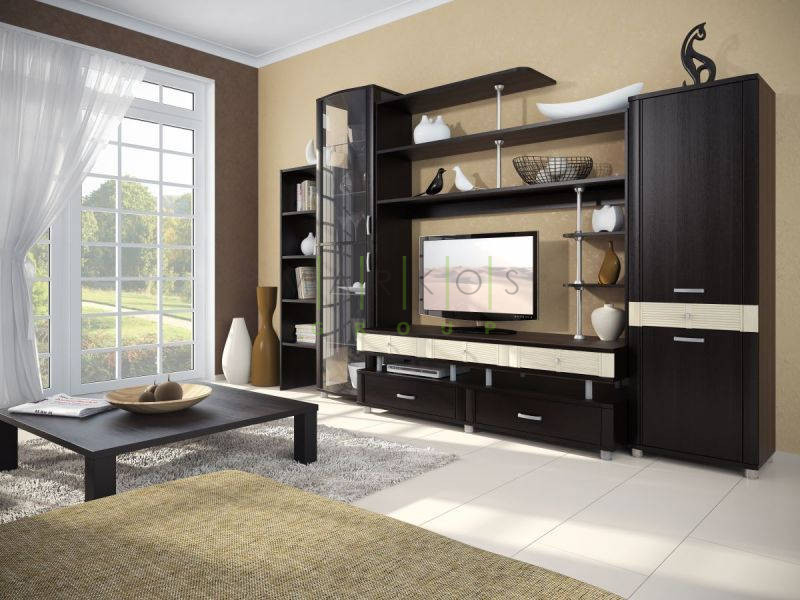 темная корпусная мебель изготовленная под заказ по индивидуальному дизайну в гостиную фото