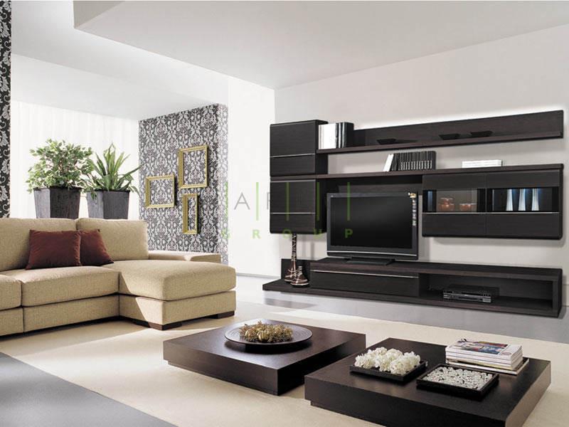 темная корпусная мебель в гостиную изготовленная под заказ по уникальному дизайну фото
