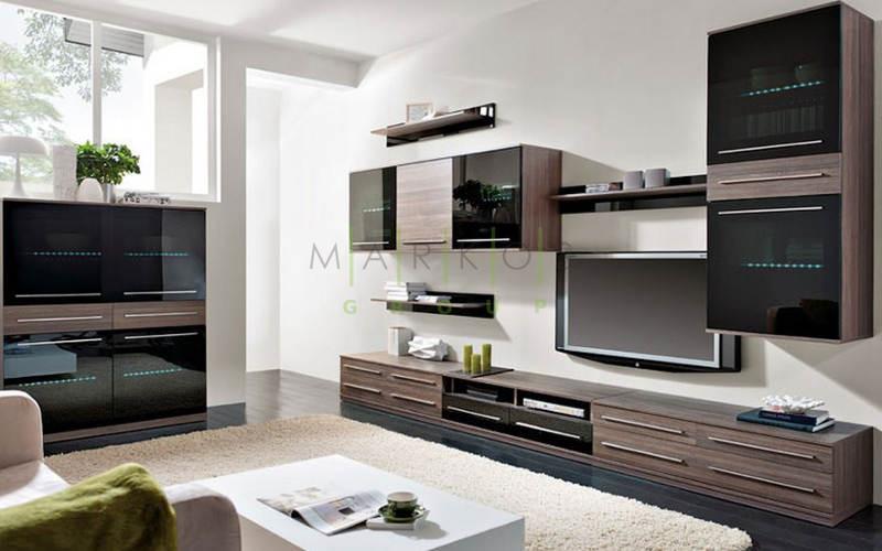 темная мебель в гостиную изготовленная на заказ фото