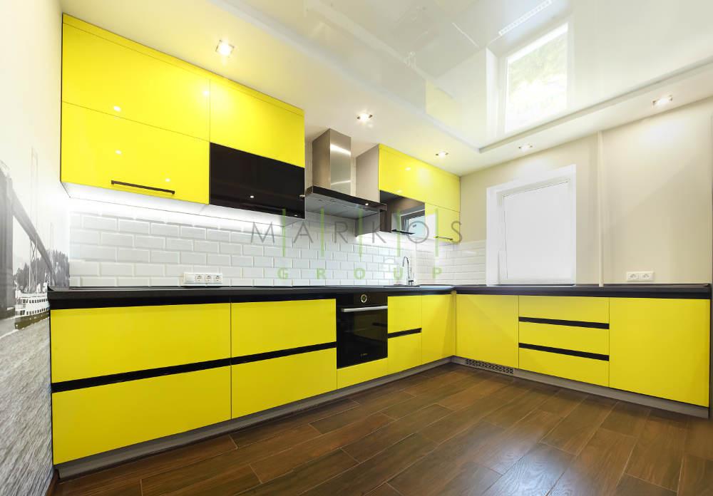 дизайн мебели для кухни в желтом цвете в Черкассах фото